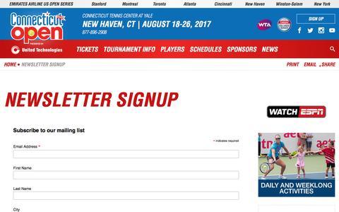 Screenshot of Signup Page ctopen.org - Newsletter Signup   Connecticut Open - captured Nov. 11, 2016