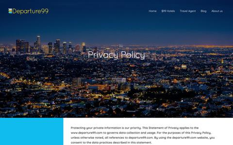 Screenshot of Privacy Page departure99.com - Compare cheap flights, hotels deals and get free trip quotes - captured Nov. 2, 2018