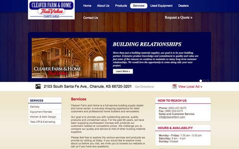 Screenshot of Services Page cleaverfarm.com - Cleaver Farm & Home - captured Oct. 2, 2014