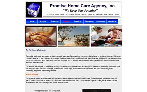 Screenshot of Services Page promisehomecareagency.com - :: Promise HomeCare Agency :: Services - captured Oct. 3, 2014