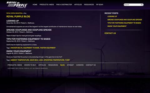 Screenshot of Blog royalpurpleindustrial.com - Royal Purple Blog | Synthetic Lubricants, Oils & Greases for Industrial and Commercial Use - captured Sept. 18, 2014