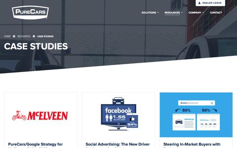 Screenshot of Case Studies Page purecars.com - Case Studies | Resources | PureCars Digital Solutions - captured Jan. 6, 2018