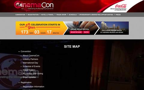 Screenshot of Site Map Page cinemacon.com - Site Map | CinemaCon - captured Oct. 28, 2014