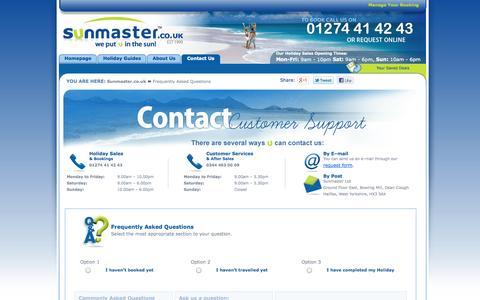 Screenshot of FAQ Page sunmaster.co.uk - Interactive FAQ | Sunmaster - captured Sept. 19, 2014
