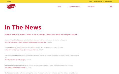 Screenshot of Press Page mycarmex.com - In The News - Carmex - captured Sept. 27, 2018