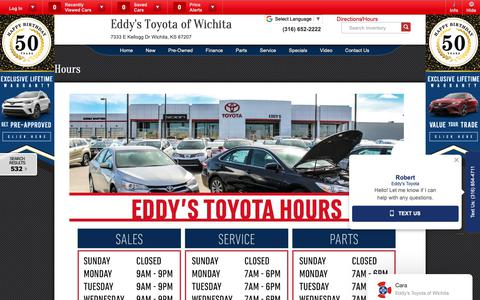 Screenshot of Hours Page eddystoyota.com - Toyota Sales Service Parts Hours | Wichita Auto Sales - captured Sept. 27, 2018