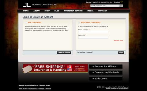 Screenshot of Login Page leannelainefineart.com - Customer Login - captured Oct. 1, 2014