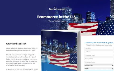 Screenshot of Landing Page webinterpret.com - Ecommerce in the U.S.: the definitive guide - captured March 27, 2018