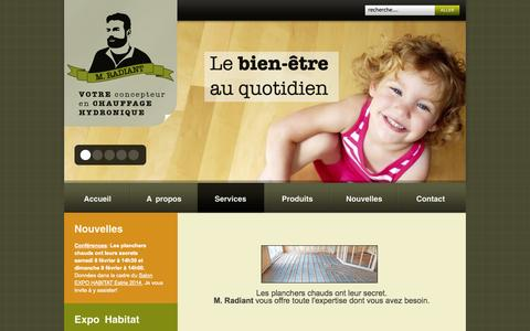Screenshot of Services Page mradiant.ca - Services - captured Oct. 3, 2014