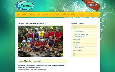 Screenshot of About Page Hours Page ultimatewatersports.com - Company - captured Oct. 27, 2014