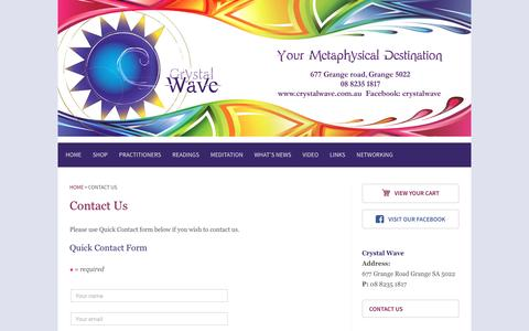 Screenshot of Contact Page crystalwave.com.au - Contact Us - Crystalwave - captured April 12, 2017