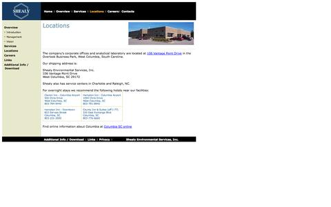 Screenshot of Locations Page shealylab.com - Shealy Environmental Inc. - captured Oct. 8, 2014