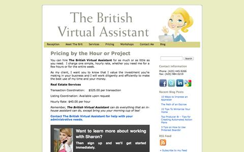 Screenshot of Pricing Page thebritishvirtualassistant.com - Sharon Senger | The British Virtual Assistant provides Administrative Services at an Affordable Hourly Rate | The British Virtual Assistant - captured Sept. 30, 2014