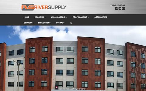 Screenshot of Home Page riversupplyinc.com - River Supply Inc. | A fabrication company of ACM Panel and Trespa Systems. - captured Sept. 21, 2018