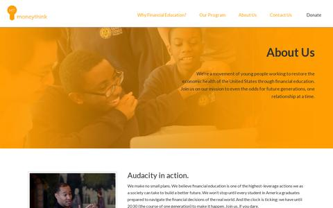 Screenshot of About Page moneythink.org - About Us | Moneythink : Moneythink - captured July 20, 2014