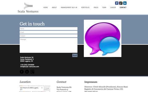 Screenshot of Contact Page scala-ventures.com - Scala Ventures   CONTACT - captured May 28, 2017