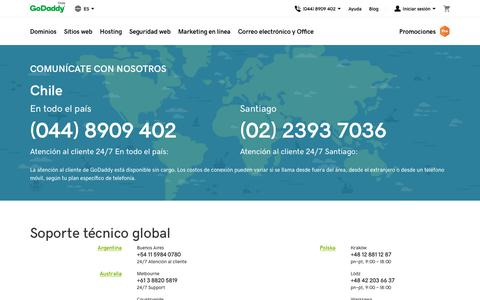 Screenshot of Contact Page godaddy.com - Asistencia técnica global de GoDaddy | Contáctenos – GoDaddy CL - captured Oct. 22, 2018