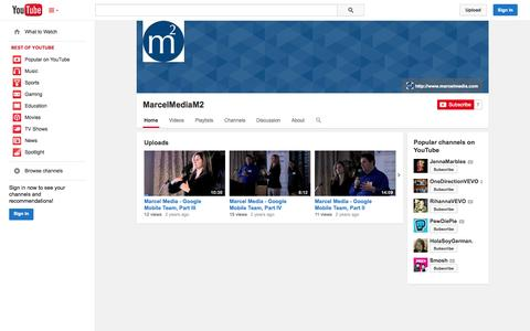 Screenshot of YouTube Page youtube.com - MarcelMediaM2  - YouTube - captured Oct. 27, 2014