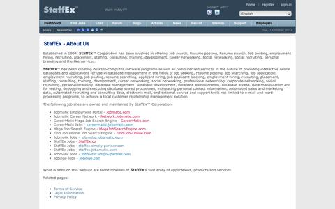 Screenshot of About Page staffex.co - Find Jobs Online - StaffEx™ Employment Portal & Social Network: About Us - captured Oct. 7, 2014