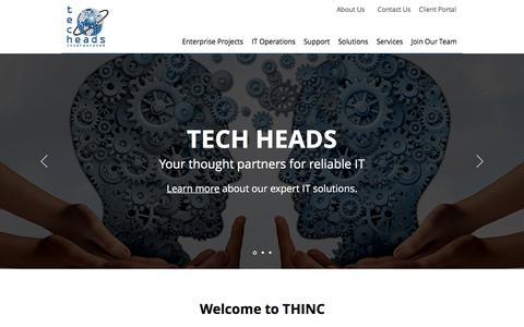Screenshot of Home Page techheads.com - Tech Heads - IT Consulting & Technical Support in Portland Oregon - captured Sept. 19, 2018