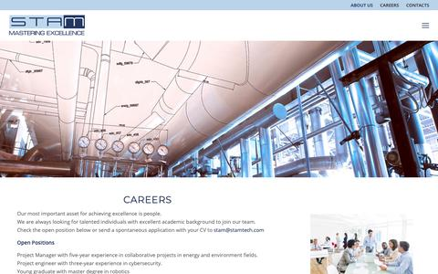 Screenshot of Contact Page Jobs Page stamtech.com - Contacts & Careers - STAM - Mastering Excellence - captured Oct. 1, 2018