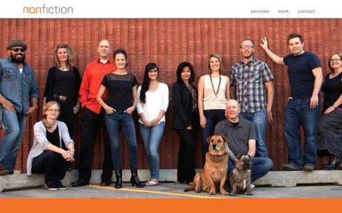Screenshot of Home Page nonfiction.ca - nonfiction studios inc. - captured Jan. 26, 2015