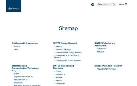 Screenshot of Site Map Page sintef.no - Sitemap - SINTEF - captured Nov. 18, 2016
