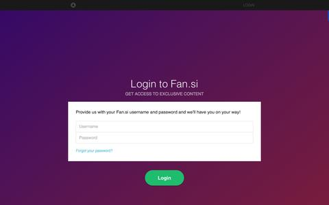 Screenshot of Login Page fan.si - Fan.si | Custom Mobile Social Networks for the World's Great Artists. - captured Feb. 9, 2016