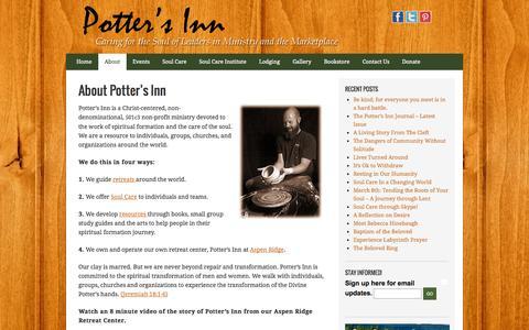 Screenshot of About Page pottersinn.com - About Potter's Inn - Potter's Inn - captured Sept. 30, 2014