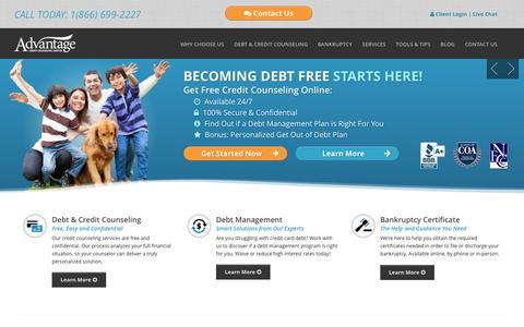 Screenshot of Home Page advantageccs.org - Consumer Credit Counseling and Debt Management | Advantage CCS - captured Oct. 4, 2014