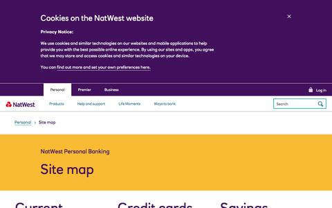 Screenshot of Site Map Page natwest.com - Sitemap | NatWest Personal Banking - captured Nov. 26, 2019