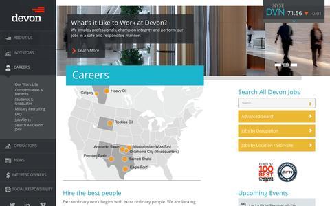 Screenshot of Jobs Page devonenergy.com - Jobs and careers at Devon - captured Sept. 19, 2014