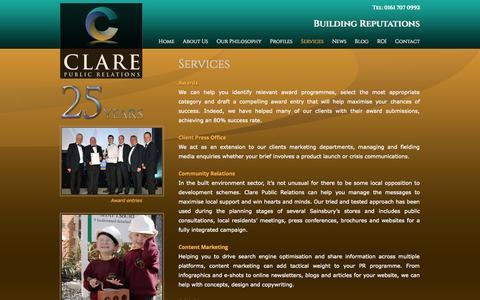 Screenshot of Services Page clarepr.com - Services | Clare Public Relations - captured Nov. 2, 2014