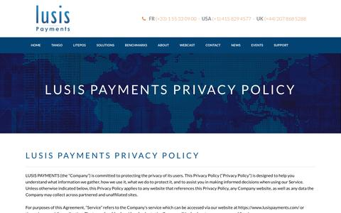 Screenshot of Privacy Page lusispayments.com - CONTACT LUSIS | Payments Solutions | Processing | Payments Hub Switch | ATM | Legacy Payment Replacement - Lusis Payments | Innovative Global Payments Software and Services - captured Sept. 29, 2018