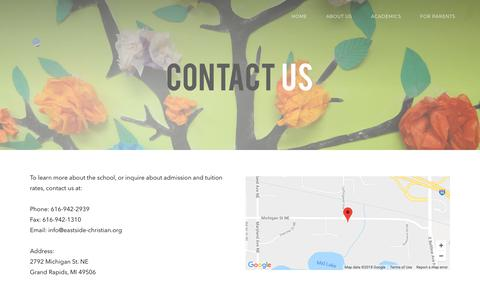 Screenshot of Contact Page eastsidechr.org - Contact Us - captured Sept. 26, 2018