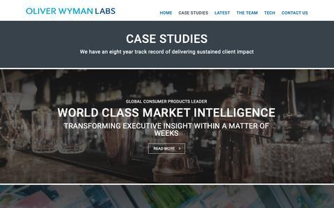 Screenshot of Case Studies Page oliverwyman.com - Case Studies   Oliver Wyman Labs - captured Nov. 4, 2018