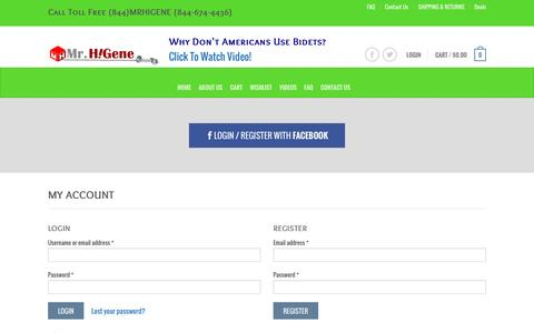 Screenshot of Login Page mrhigene.com - My Account - MrHiGene.Com - captured Jan. 24, 2017