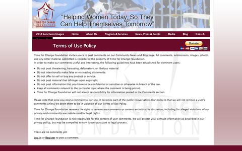 Screenshot of Terms Page timeforchangefoundation.org - Time For Change Foundation  » Terms of Use Policy - captured Sept. 30, 2014