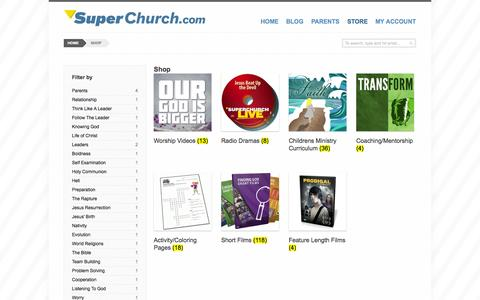 Screenshot of Products Page superchurch.com - Products Archive - Super Church - captured Oct. 7, 2014