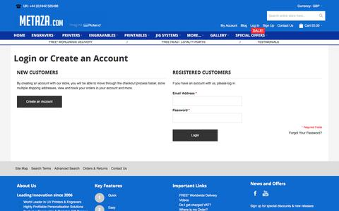 Screenshot of Login Page metaza.com - Customer Login - captured Oct. 18, 2017