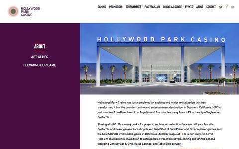 Screenshot of About Page playhpc.com - Hollywood Park Casino • About Us - captured June 26, 2017