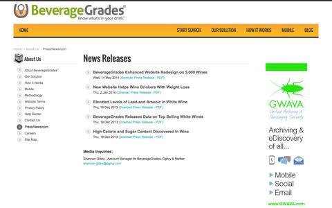Screenshot of Press Page beveragegrades.com - Press   BeverageGrades - captured Oct. 4, 2014