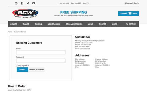 Screenshot of Support Page bcwsupplies.com - Customer Service | BCW Supplies - captured April 26, 2017