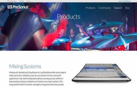 Screenshot of Products Page presonus.com - Products   PreSonus - captured Sept. 4, 2016