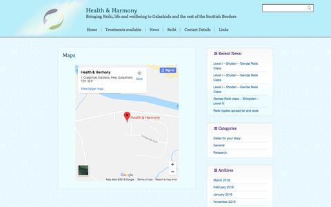 Screenshot of Maps & Directions Page health-harmony.co.uk - Maps » Health & Harmony - captured July 17, 2018