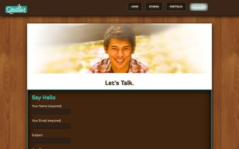 Screenshot of Contact Page quillor.com - Contact   Quillor - captured Oct. 5, 2014