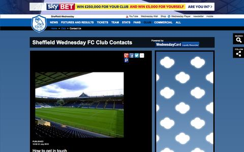 Screenshot of Contact Page swfc.co.uk - Sheffield Wednesday FC Club Contacts - captured Sept. 22, 2014