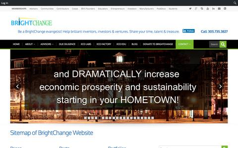 Screenshot of Site Map Page brightchange.org - Sitemap of BrightChange Website - BrightChange - A Nonprofit Accelerator Launching to Help Founders, Entrepreneurs, Early-stage Companies, Employees, EB-5 Visa Founders, PostDocs Commercialize and Trade - captured July 30, 2016
