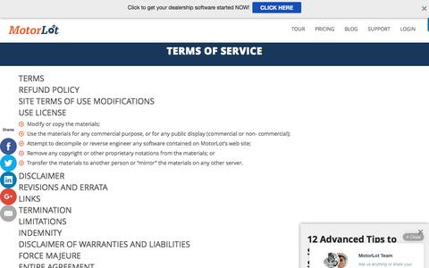 Screenshot of Terms Page motorlot.com - Terms of Service - captured Aug. 13, 2016