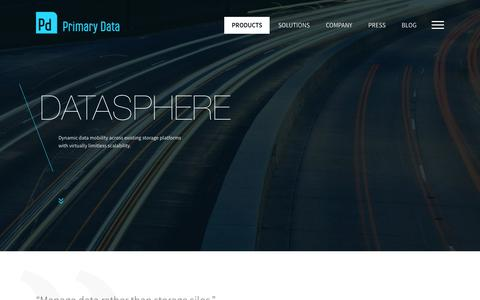 Screenshot of Products Page primarydata.com - DataSphere | Dynamic Data Mobility| Primary Data - captured Jan. 31, 2016